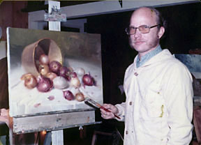 [photo of Vernon Kerr with painting, 1980]